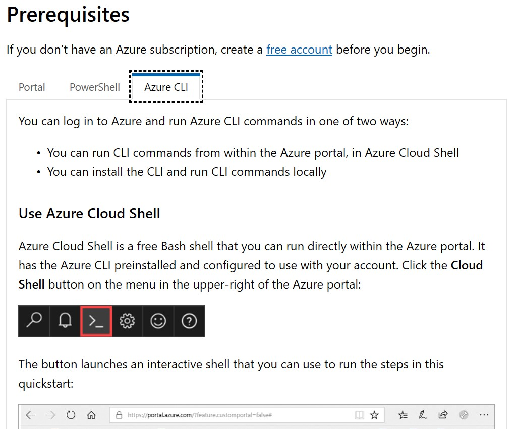 Prerequisites section is much more detailed for Azure CLI