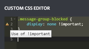 Custom CSS to hide blocked messages is not working (Use of