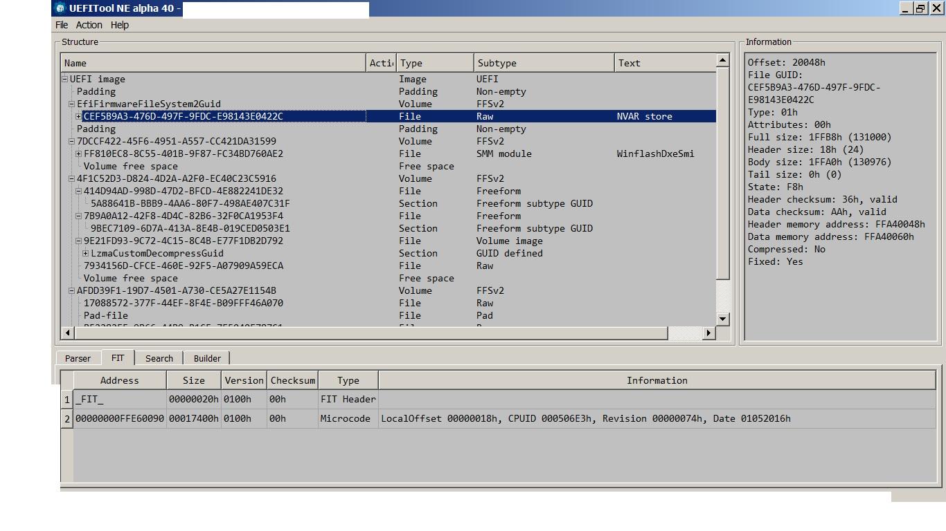 UEFITool Parse Problem With Asus AMI Aptio V 6Mb Bios