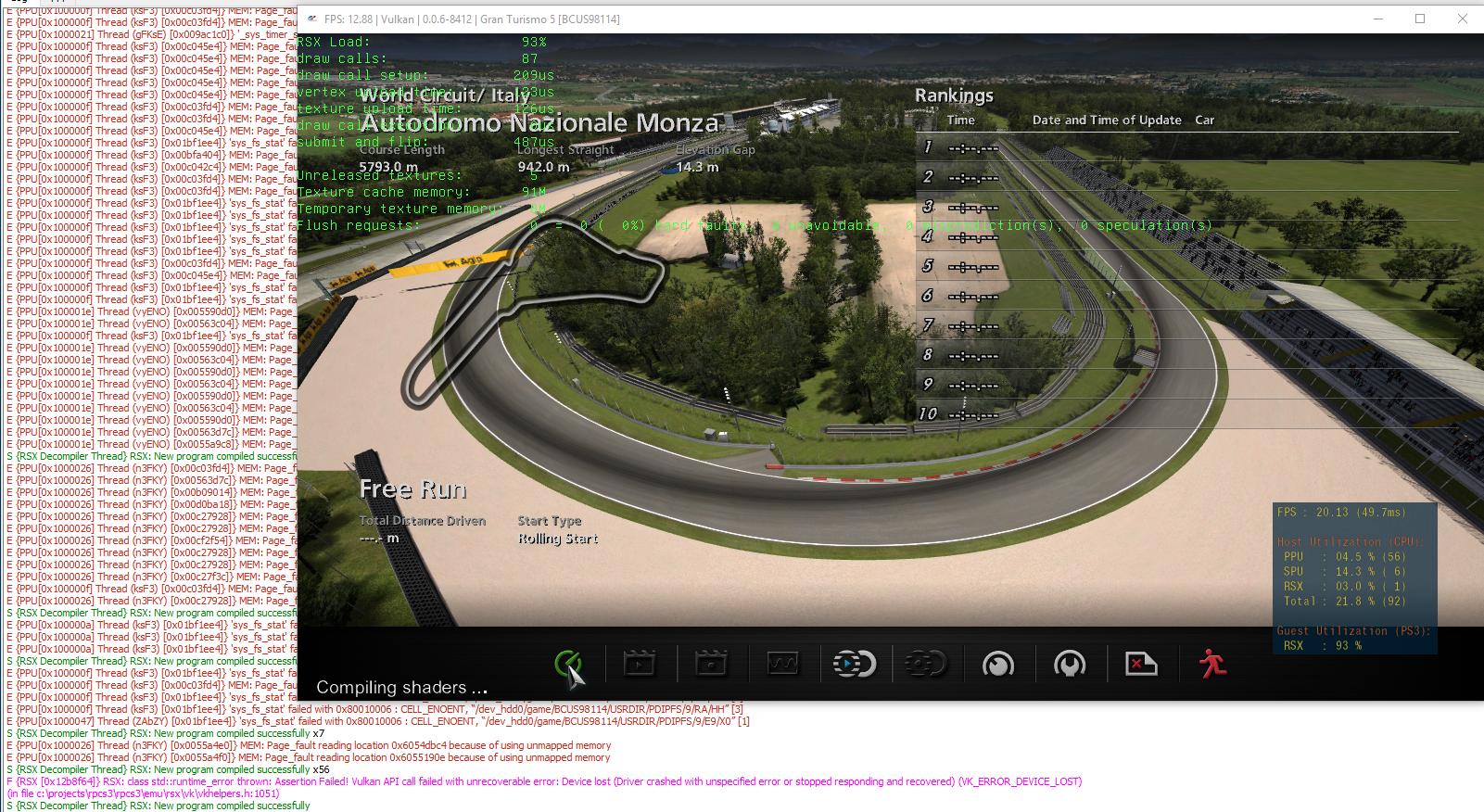 Gran Turismo 5 [BCUS98114] crash on loading circuit after