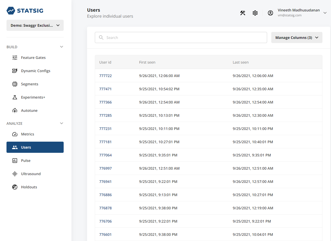 Users tab overview