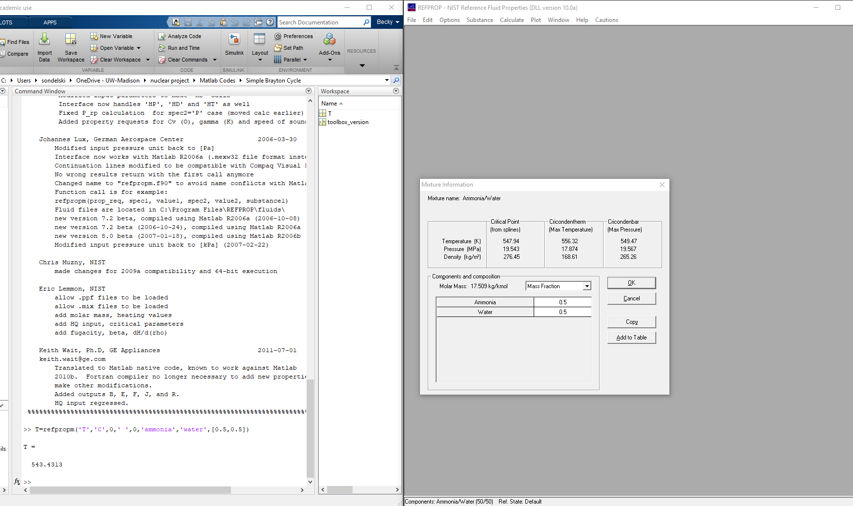 Critical points differ between matlab and refprop call