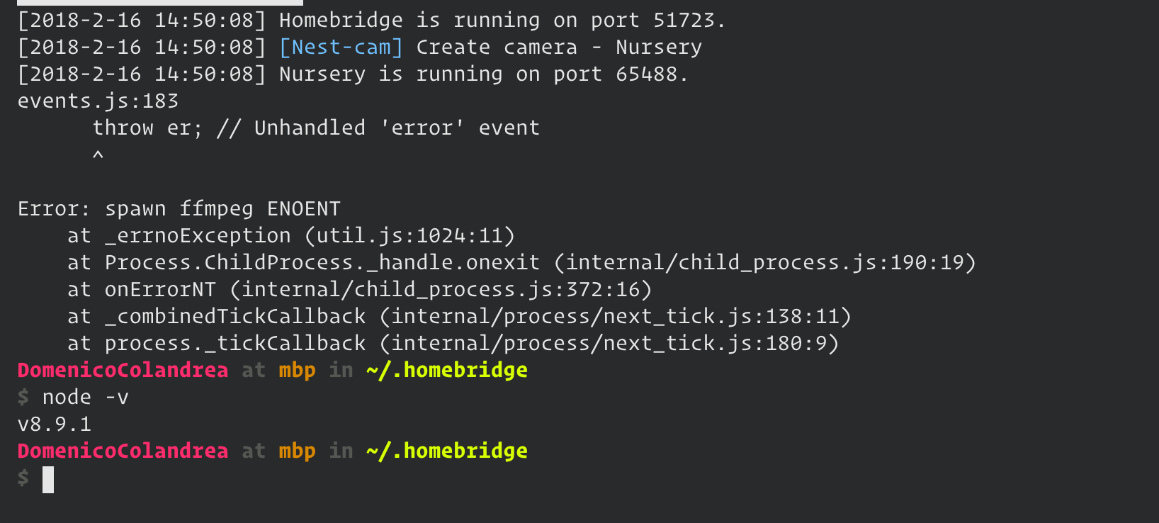 Unable to see live stream · Issue #6 · KhaosT/homebridge