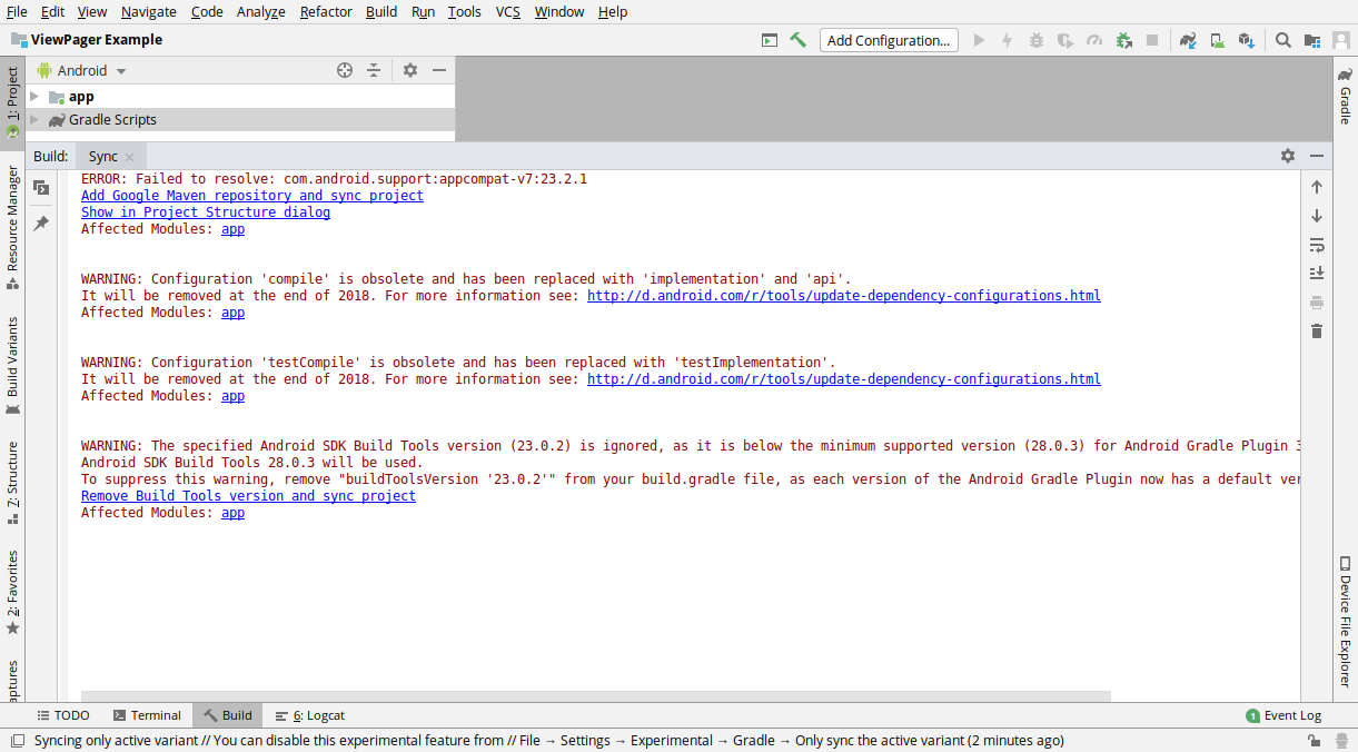 Gradle sync issues after importing into Android Studio · Issue #3 ·  udacity/ud839_ViewPager_Example · GitHub