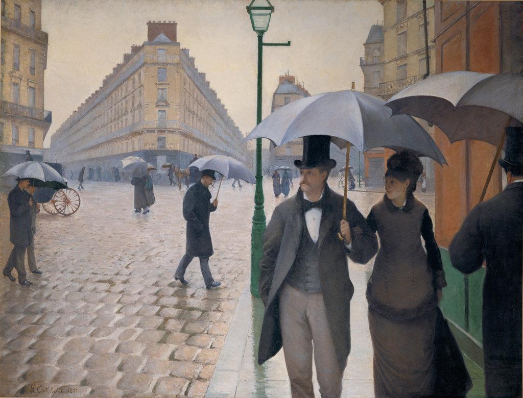 구스타브 칼리보트의 〈파리의 거리, 비오는 날〉, 1877년. Erich Lessing/Art Resource