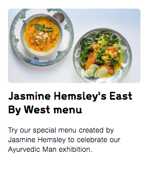 An image and text letting visitors know that there is a special menu at the Wellcome Kitchen