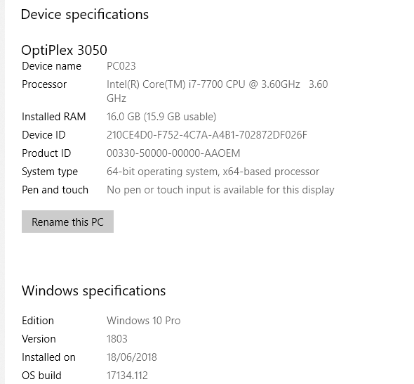view product id windows 10