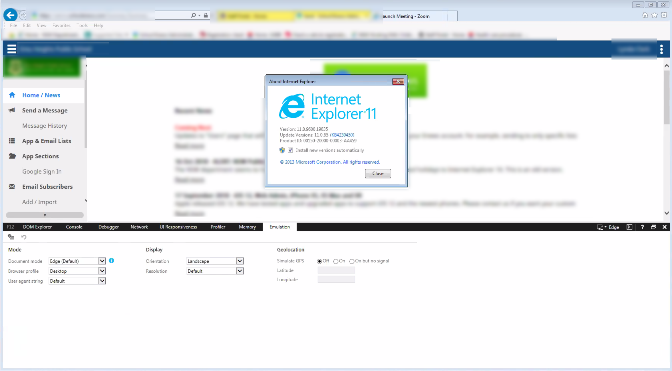 IE 11 clicking on wysiwig editor causes browser to crash