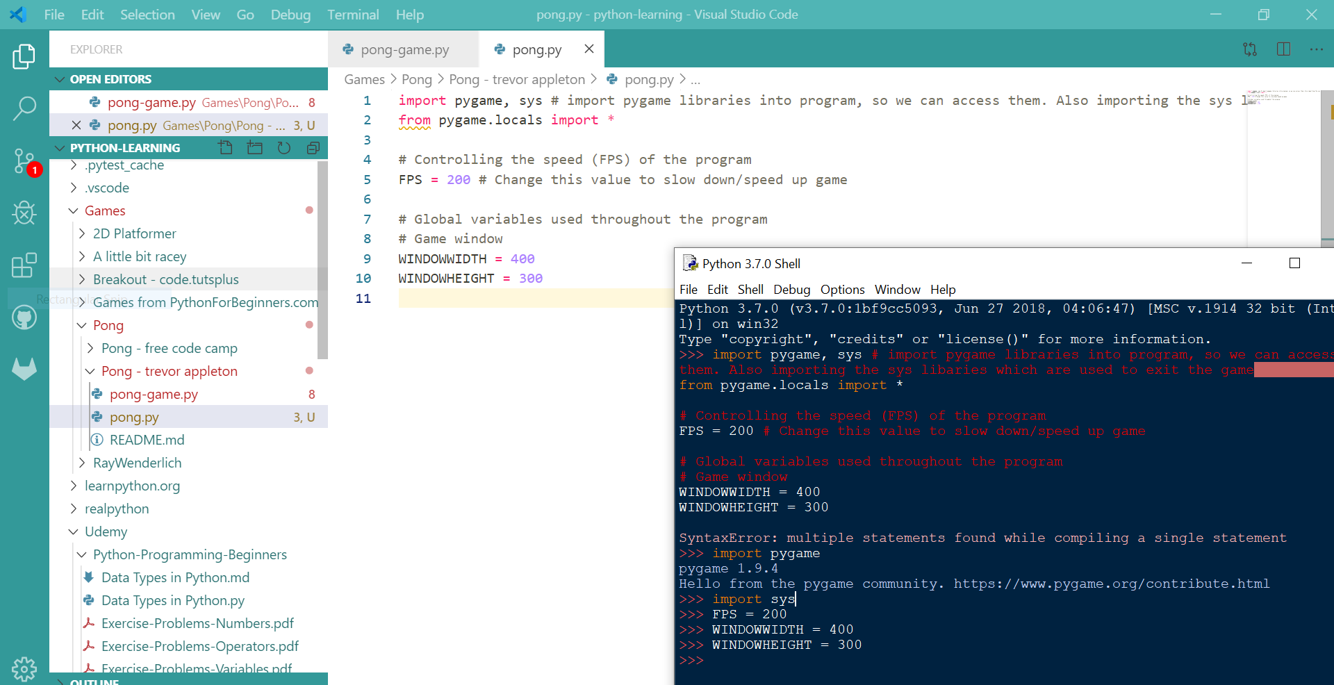 Errors in python on VScode and pasting whole code into idle