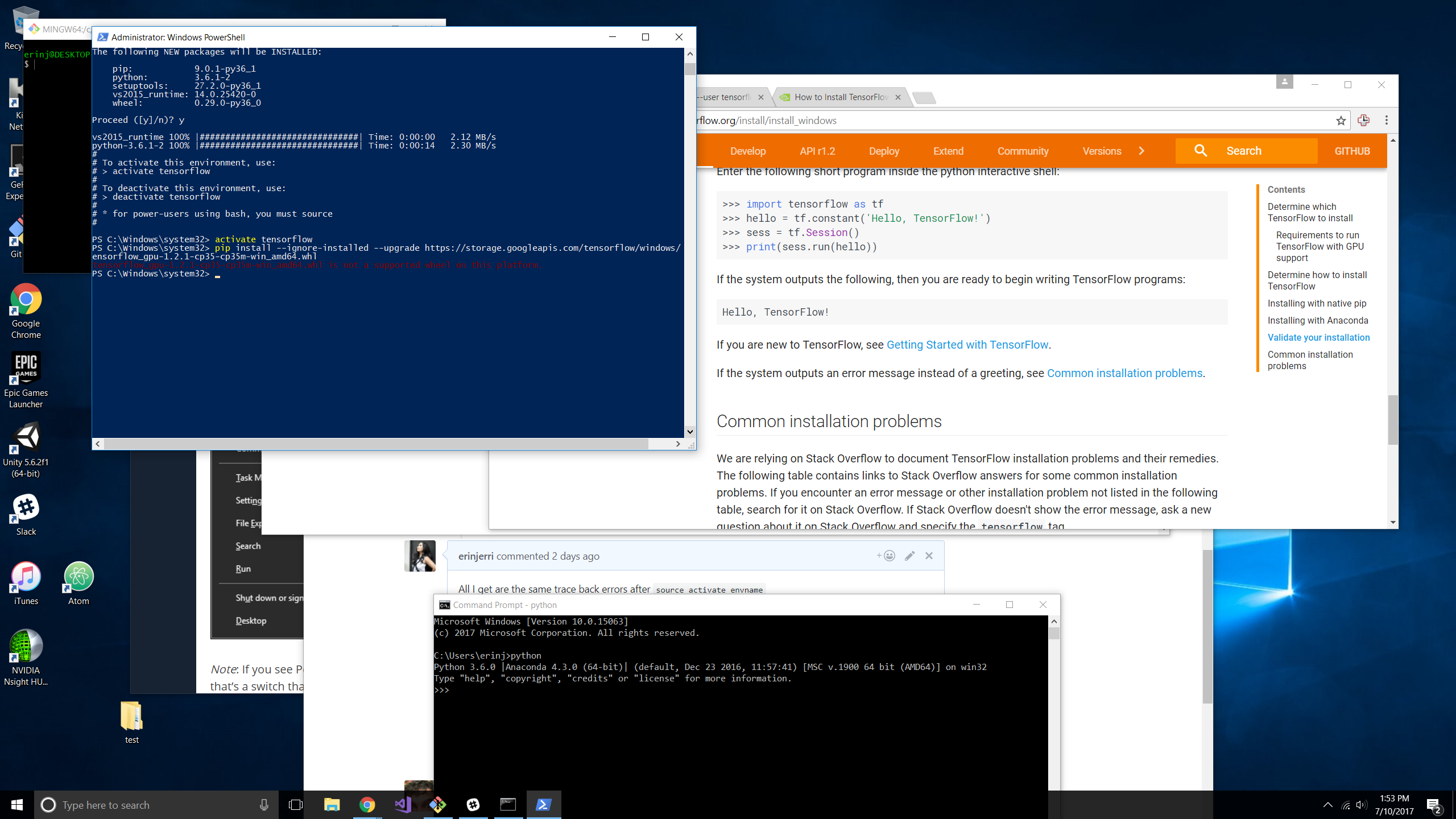 Unable To Install Tensorflow On Windows