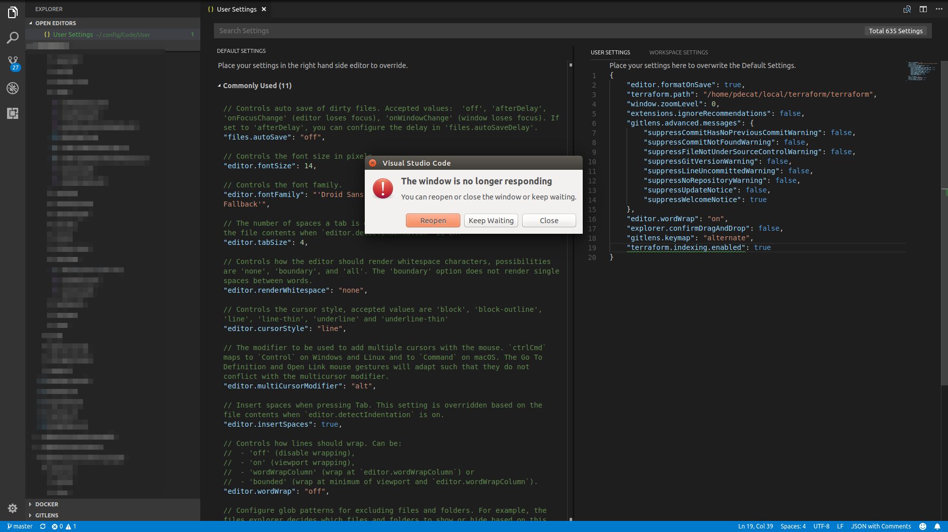 When terraform indexing enabled is true, Code UI freezes on