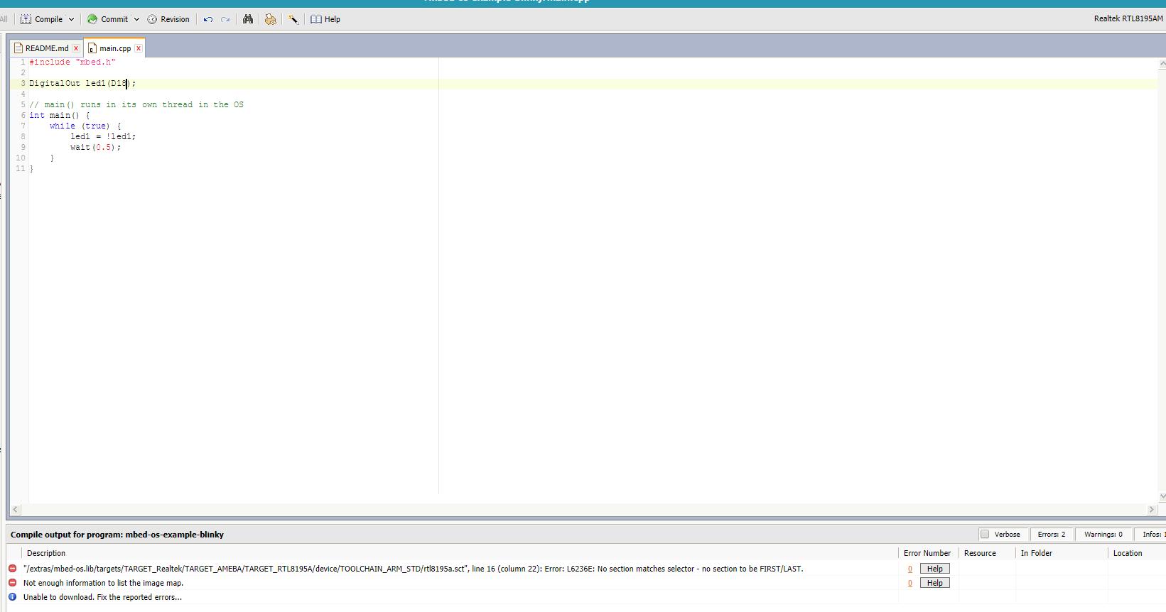 Online compiler error for the Realtek RTL8195AM board