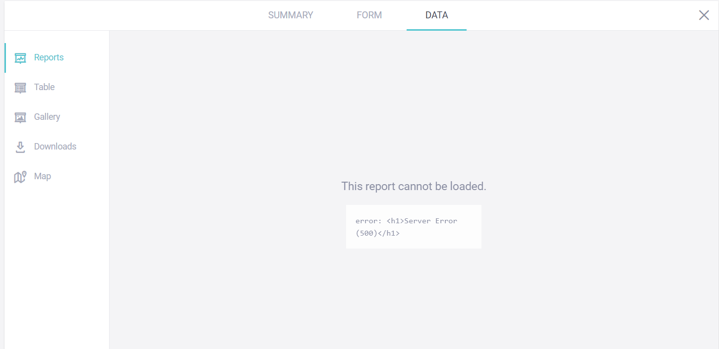 Error: <h1>Server Error (500)</h1>' when trying to generate reports