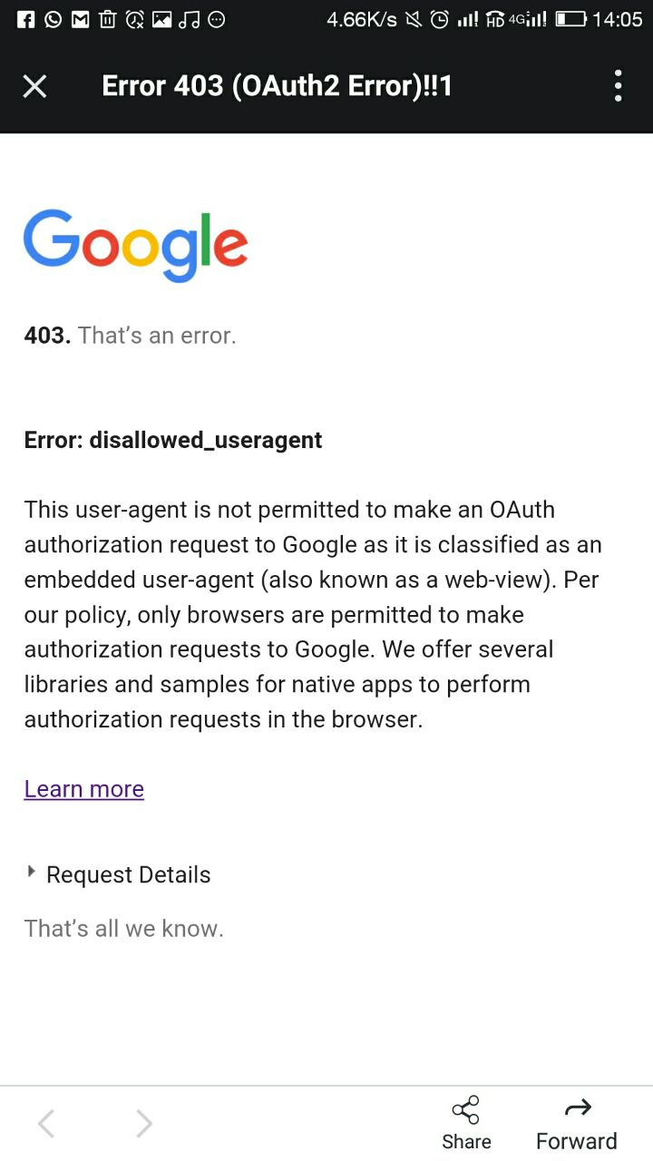 Google OAuth - disallowed_useragent on Mobiles using SignIn