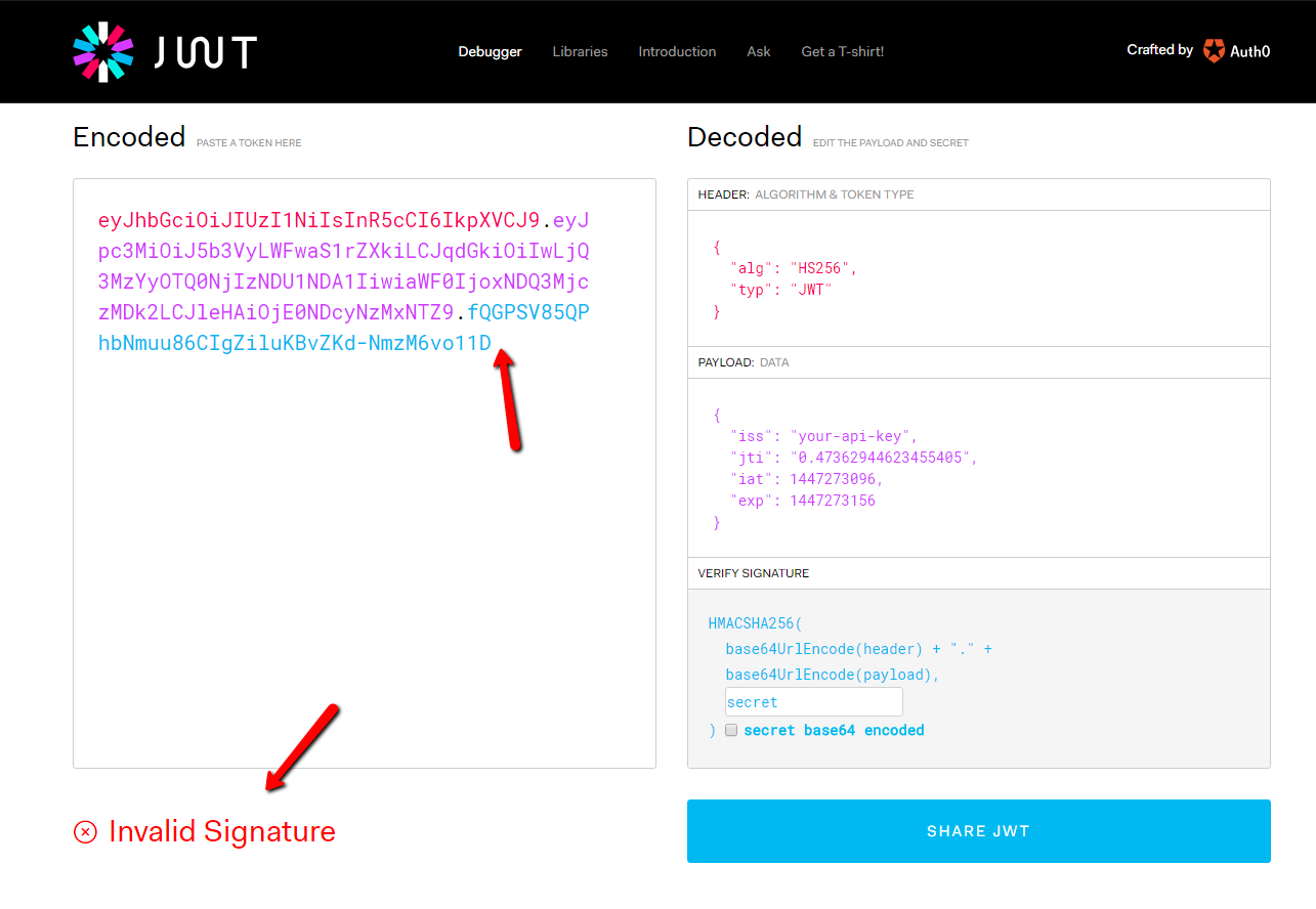 Documentation: Bad JWT authentication token used as example · Issue