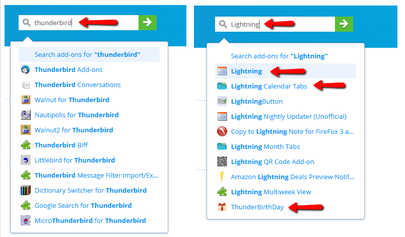 Seamonkey and Thunderbird add-ons are not hidden in search