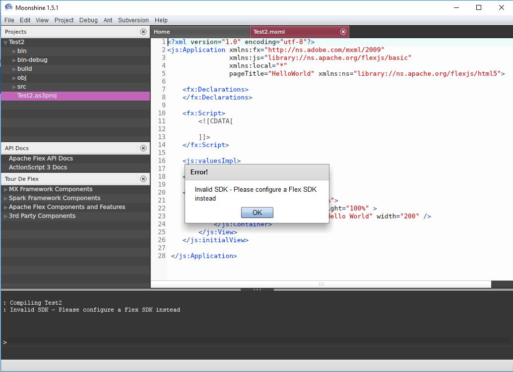 FlexJS Invalid SDK error · Issue #16 · prominic/Moonshine