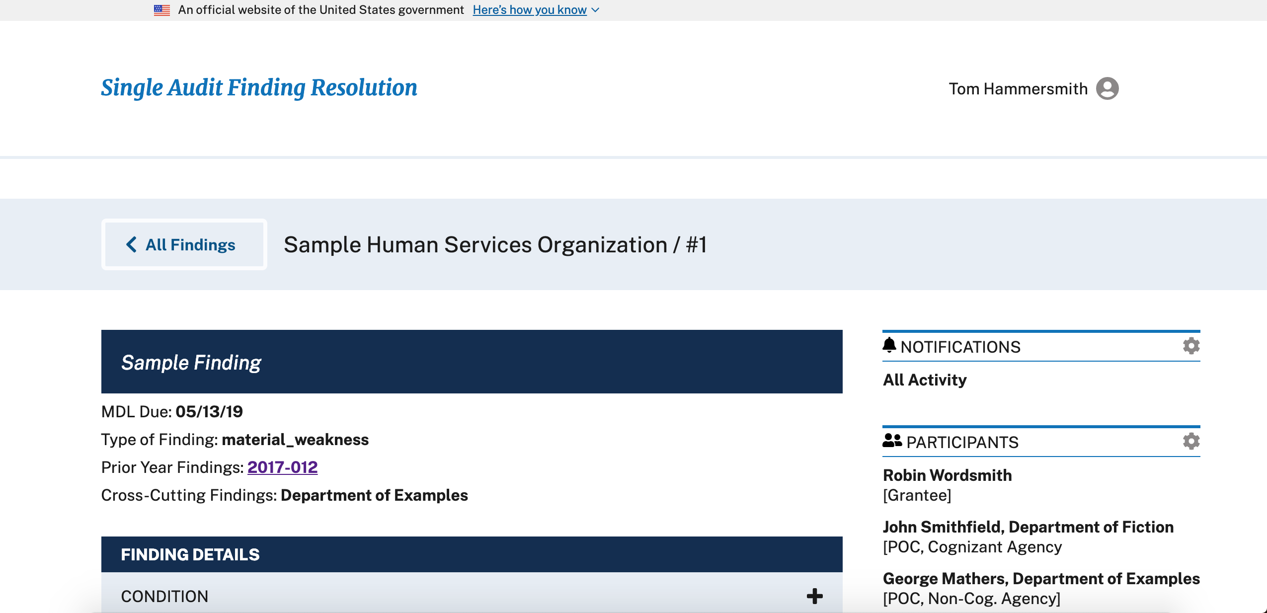 screenshot of Finding Resolution page
