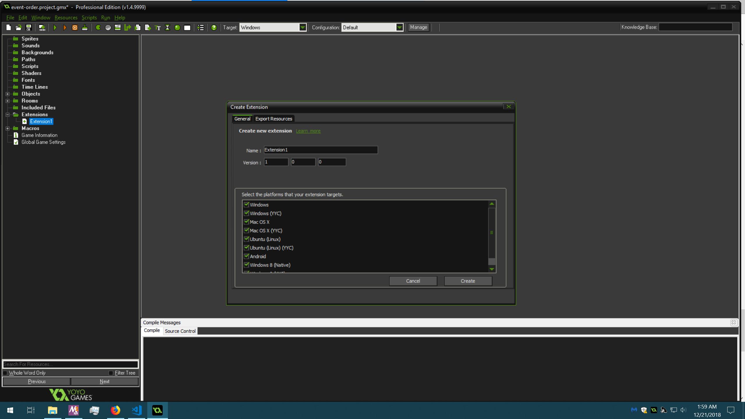 GMSv1.4 Create Extension