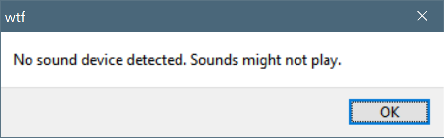 GM8.1 Audio Device Error Message