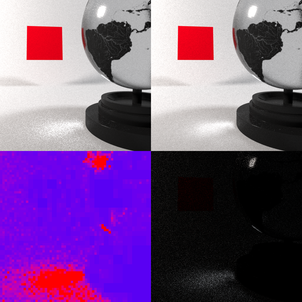 Globe scene rendered with adaptive sampling