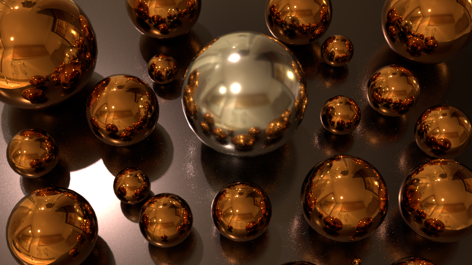 Spheres scene with roughness clamping enabled