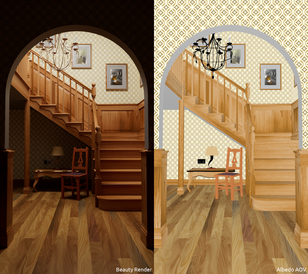 Wooden Staircase scene, beauty render and albedo AOV