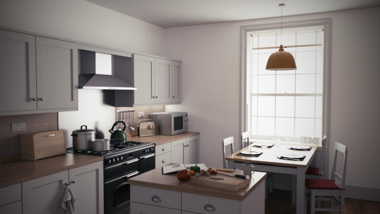 Country Kitchen scene, beauty render