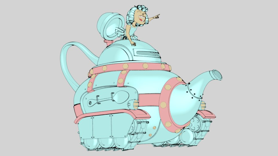Rolling Teapot scene, non-photorealistic rendering