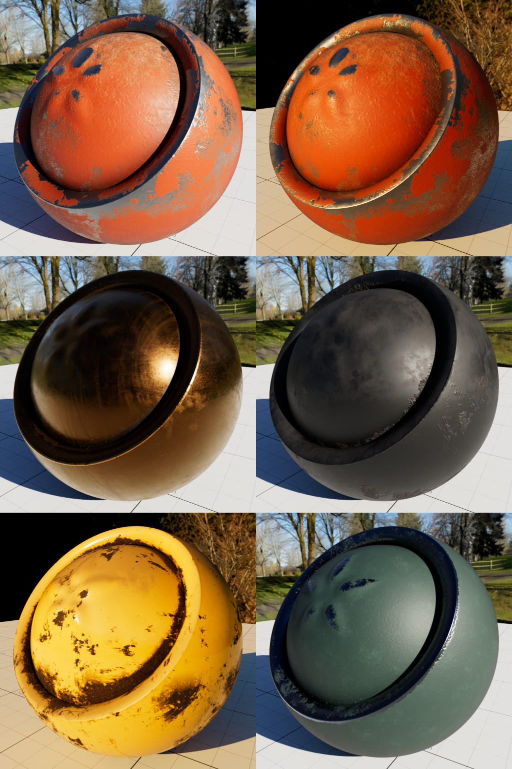 Renders using the new as_sbs_pbrmaterial OSL shader