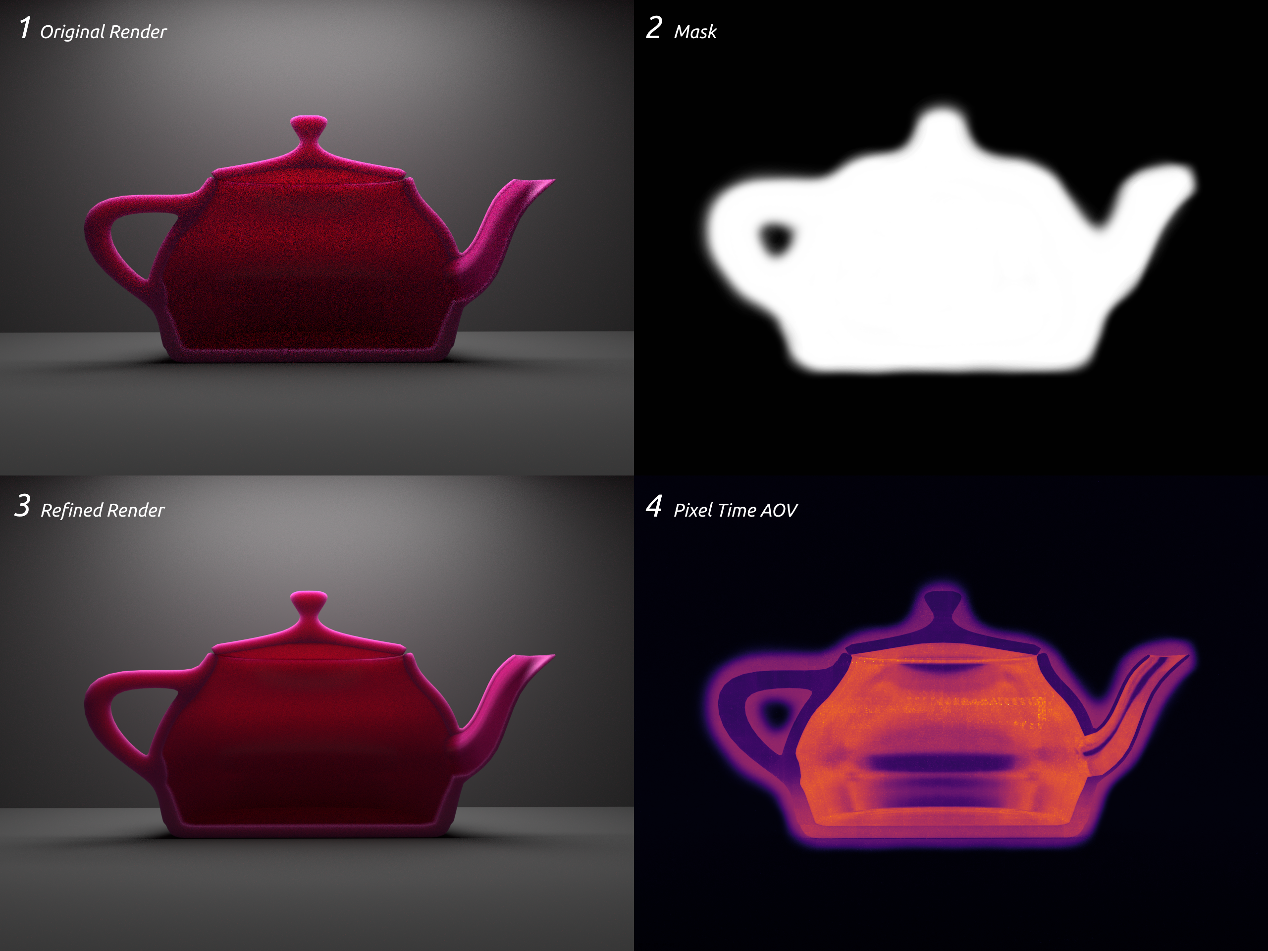 Teapot renders with texture-controlled pixel renderer