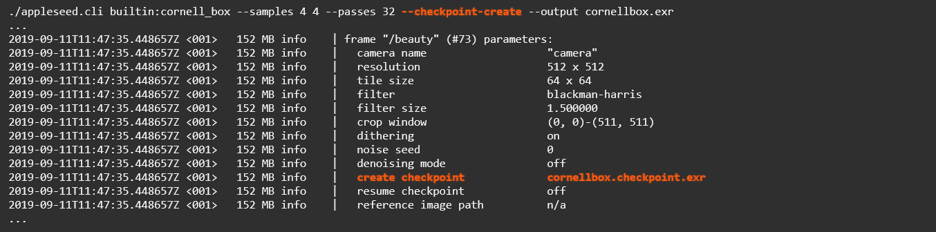 Creating a checkpoint