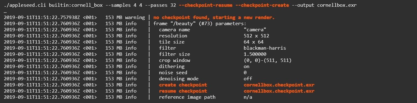 Resuming or creating a checkpoint