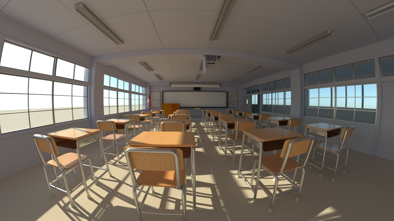 Japanese Classroom scene rendered with fisheye lens camera