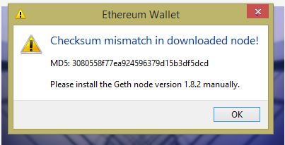 Checksum mismatch in dowloaded node! · Issue #3730 · ethereum/mist