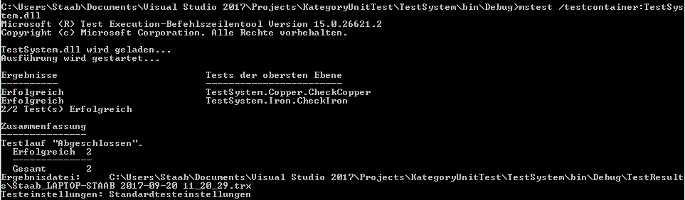 Filter by /category with mstest exe and VS2017 via Commandline