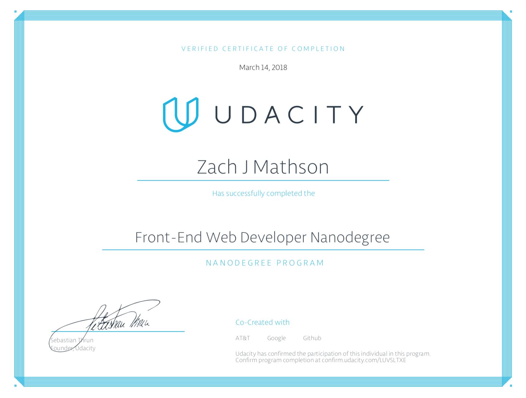 Github Mathsondevelopudacity Fend Certificate My Certification