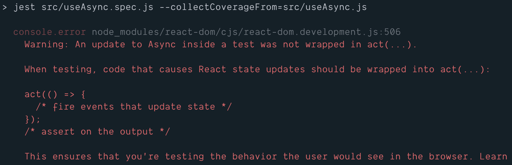 Unhelpful warning for `act` for react-dom@16 8 · Issue #14769
