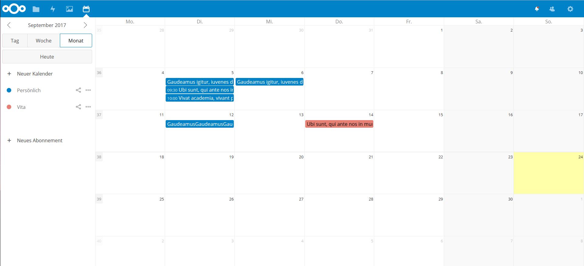 nextcloud screenshot cut text month
