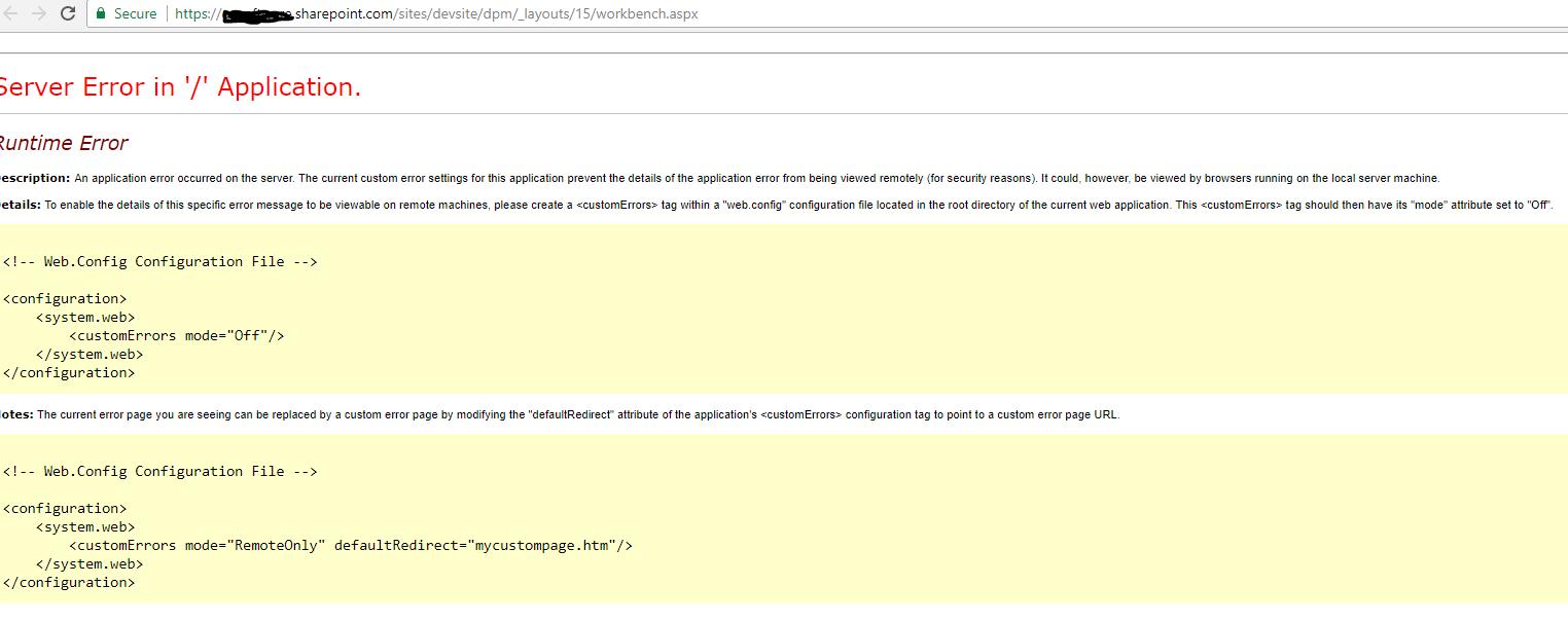 Server Error in '/' Application when running SPFx WebPart in
