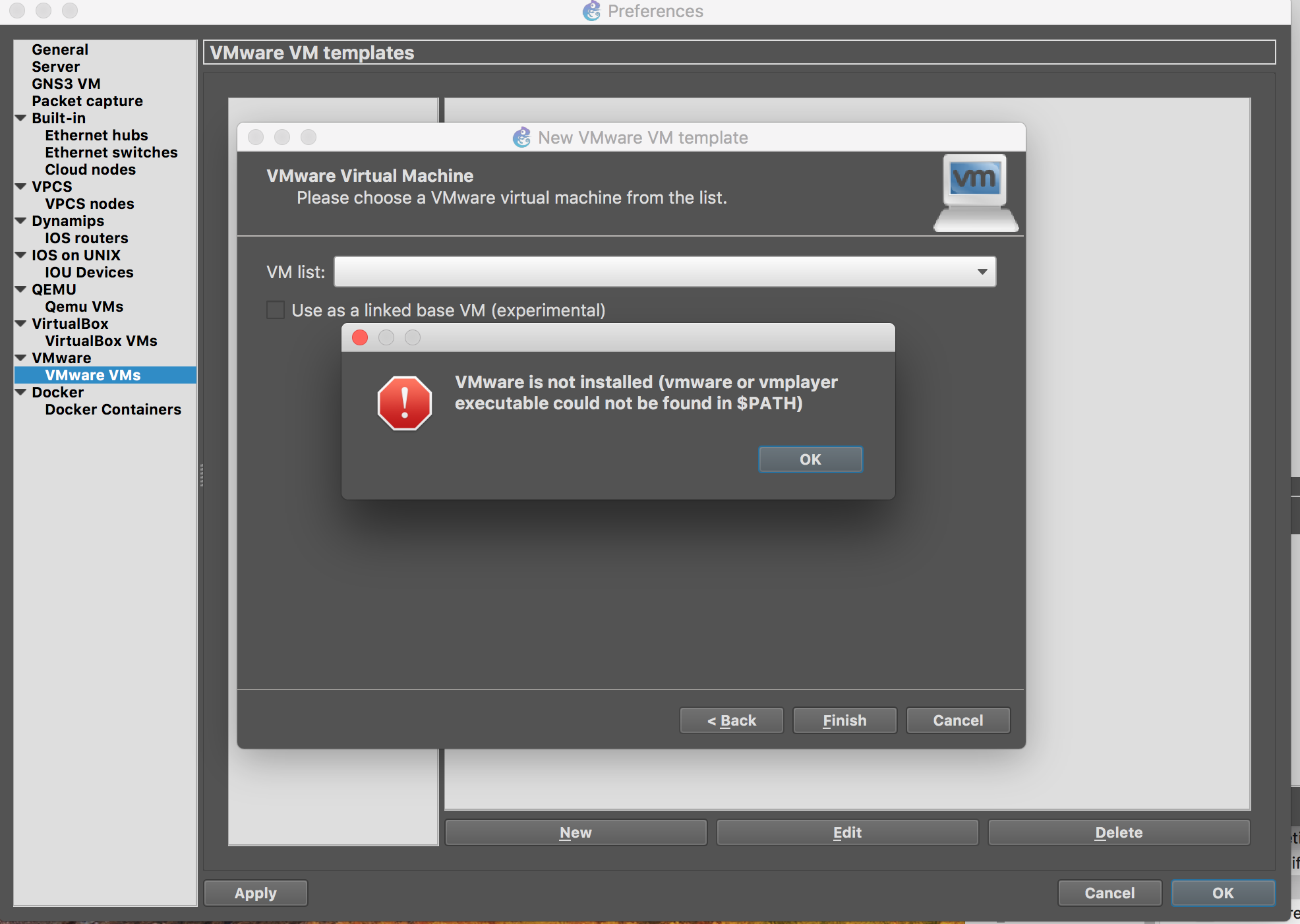 GNS3 2 1 on OSX - VMware executable path not found in $PATH