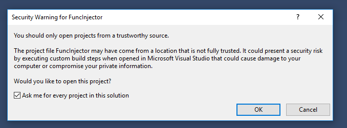Security Warning when I open project in Visual Studio