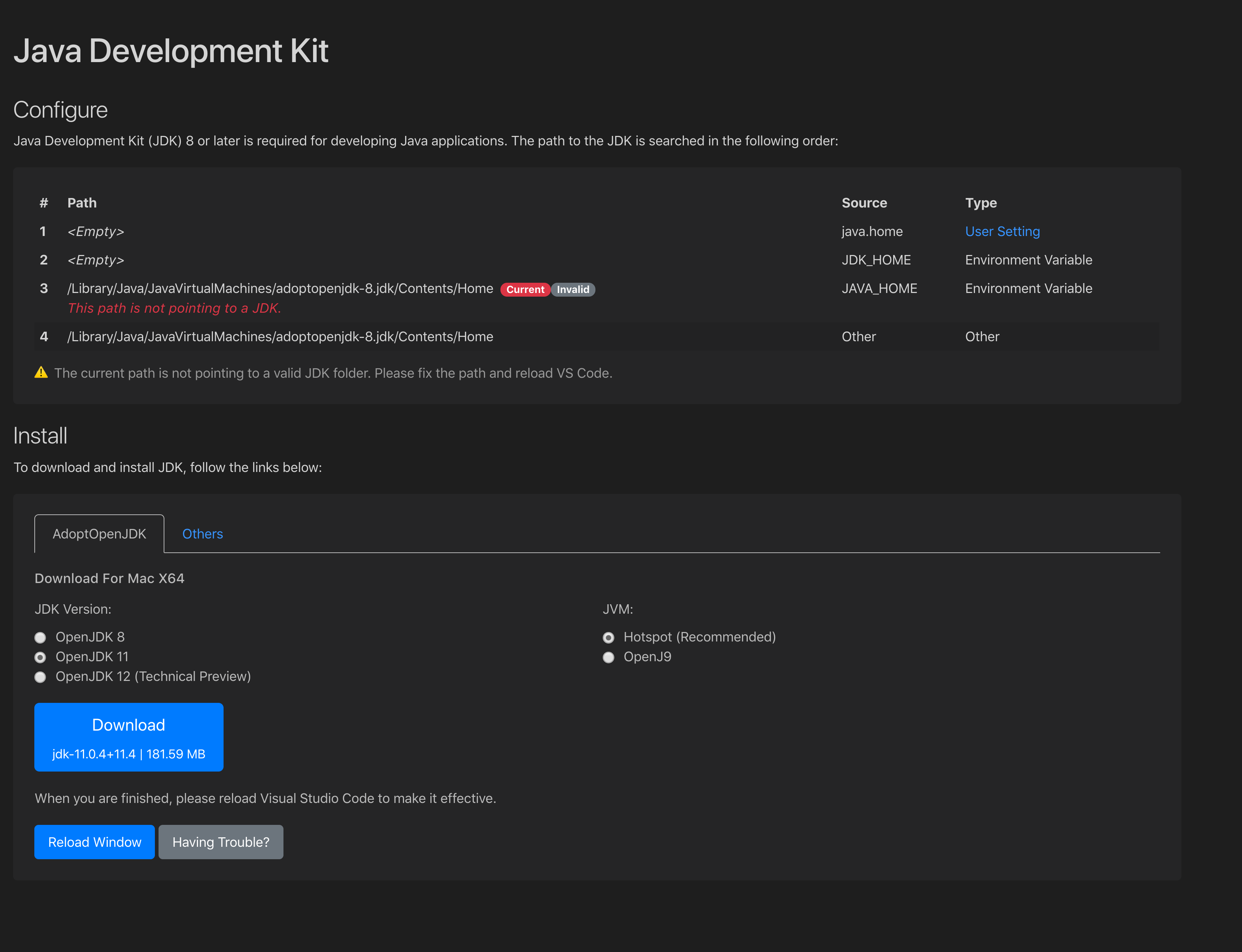 Java Home Is Not Pointing To A Jdk Issue 1062 Redhat Developer Vscode Java Github