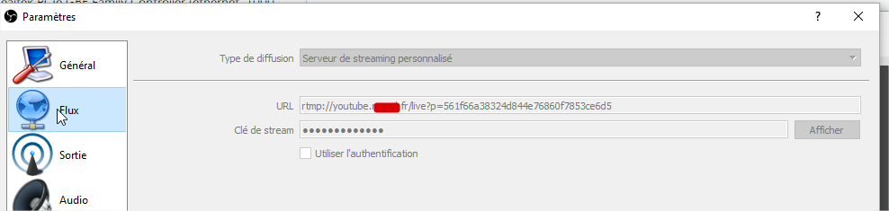 Erreur connexion serveur for live stream with OBS · Issue