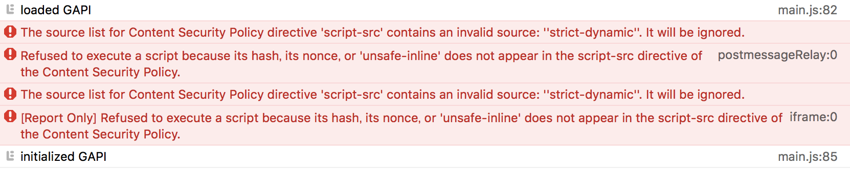 Safari only bug: 'script-src' contains an invalid source: ''strict