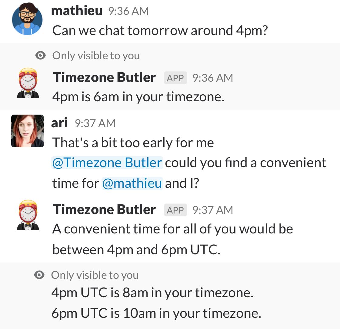 Timezone Butler demo