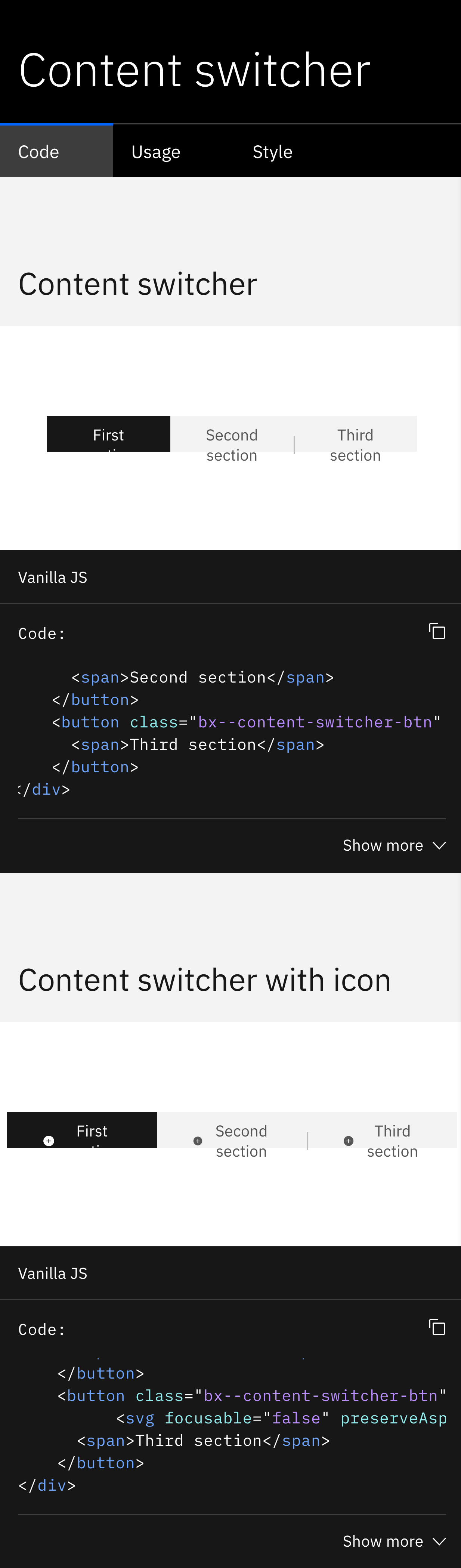 Content Switcher]: component example, mobile view - Chrome · Issue