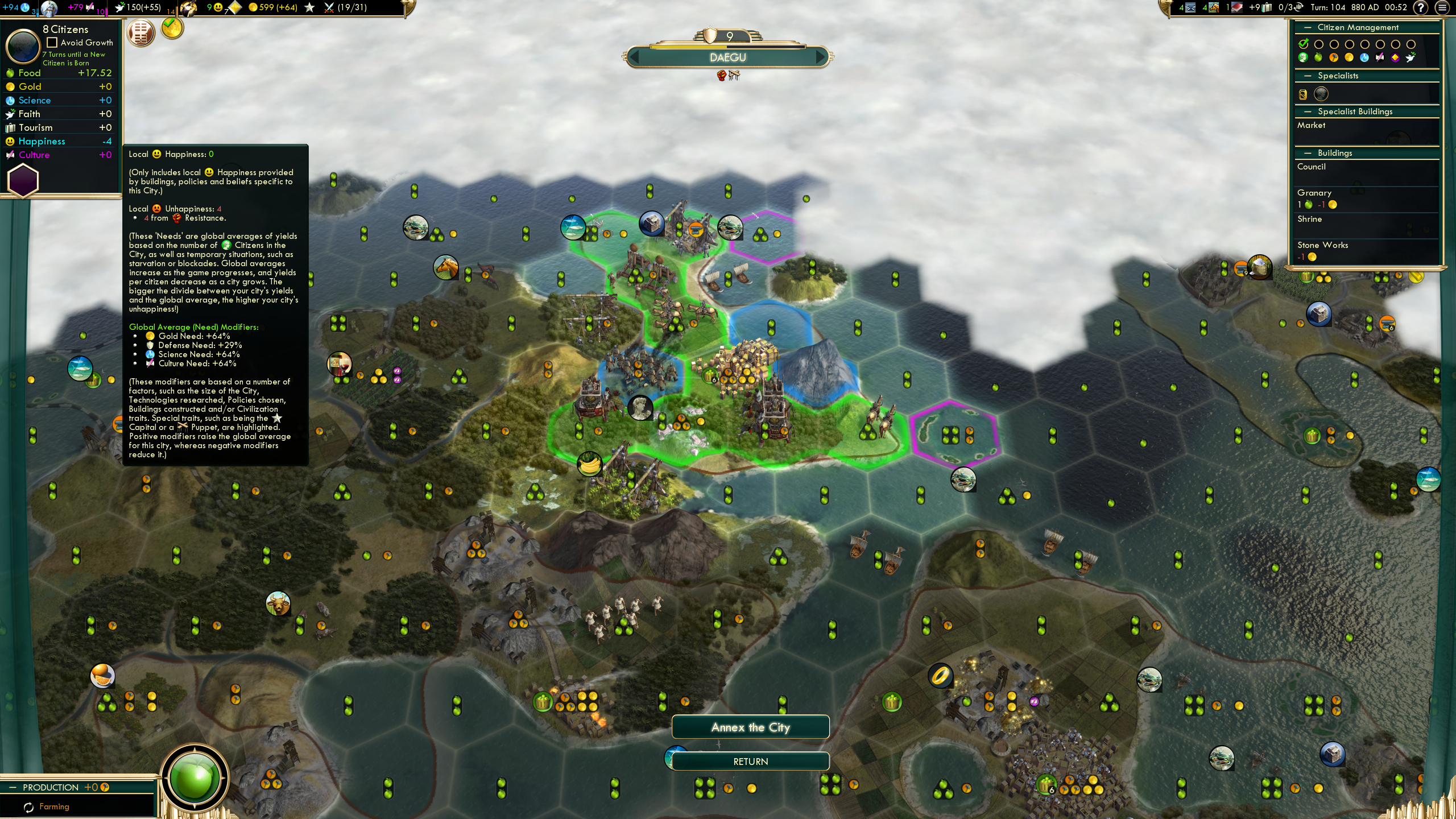 Hopeless to attempt to liberate or return a city (CP-Only) · Issue