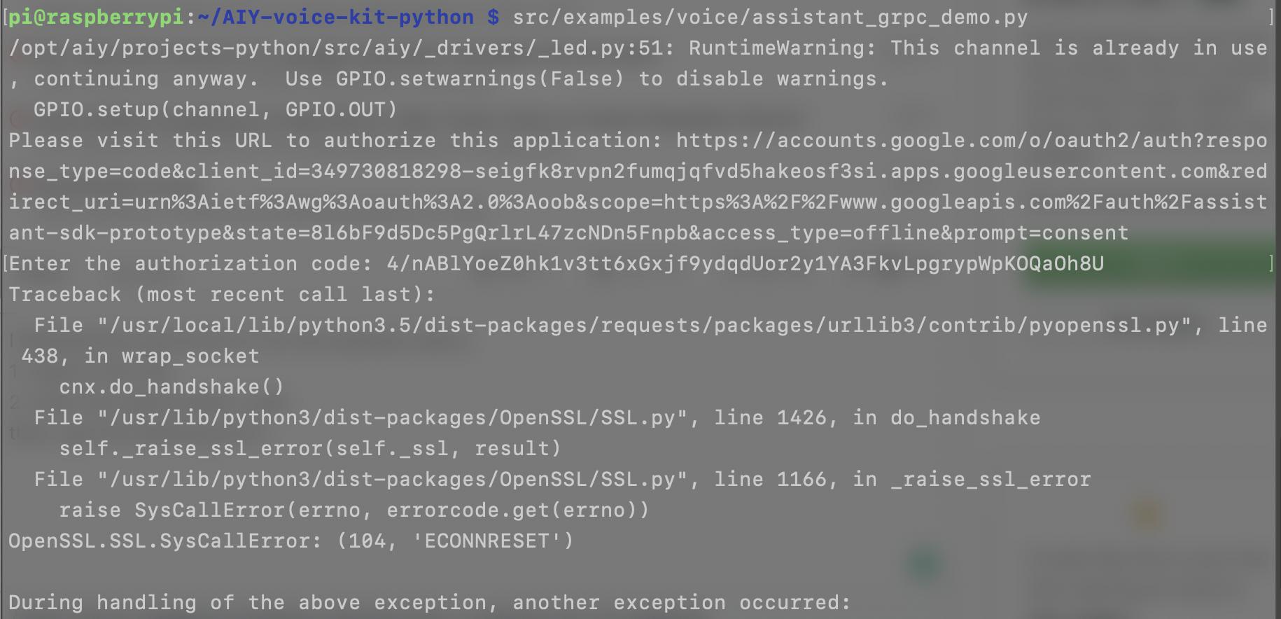 Run assistant demo failed] OpenSSL SSL SysCallError · Issue