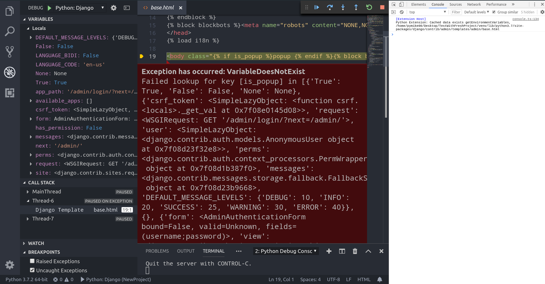 Debugger crashes when using Django's Development Server with